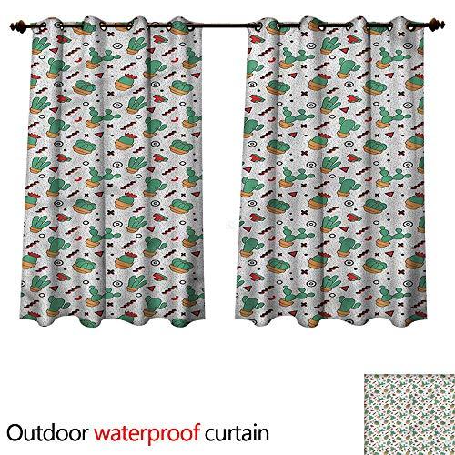 cobeDecor Cactus Home Patio Outdoor Curtain Herringbone Pattern Dots W96 x L72(245cm x 183cm)