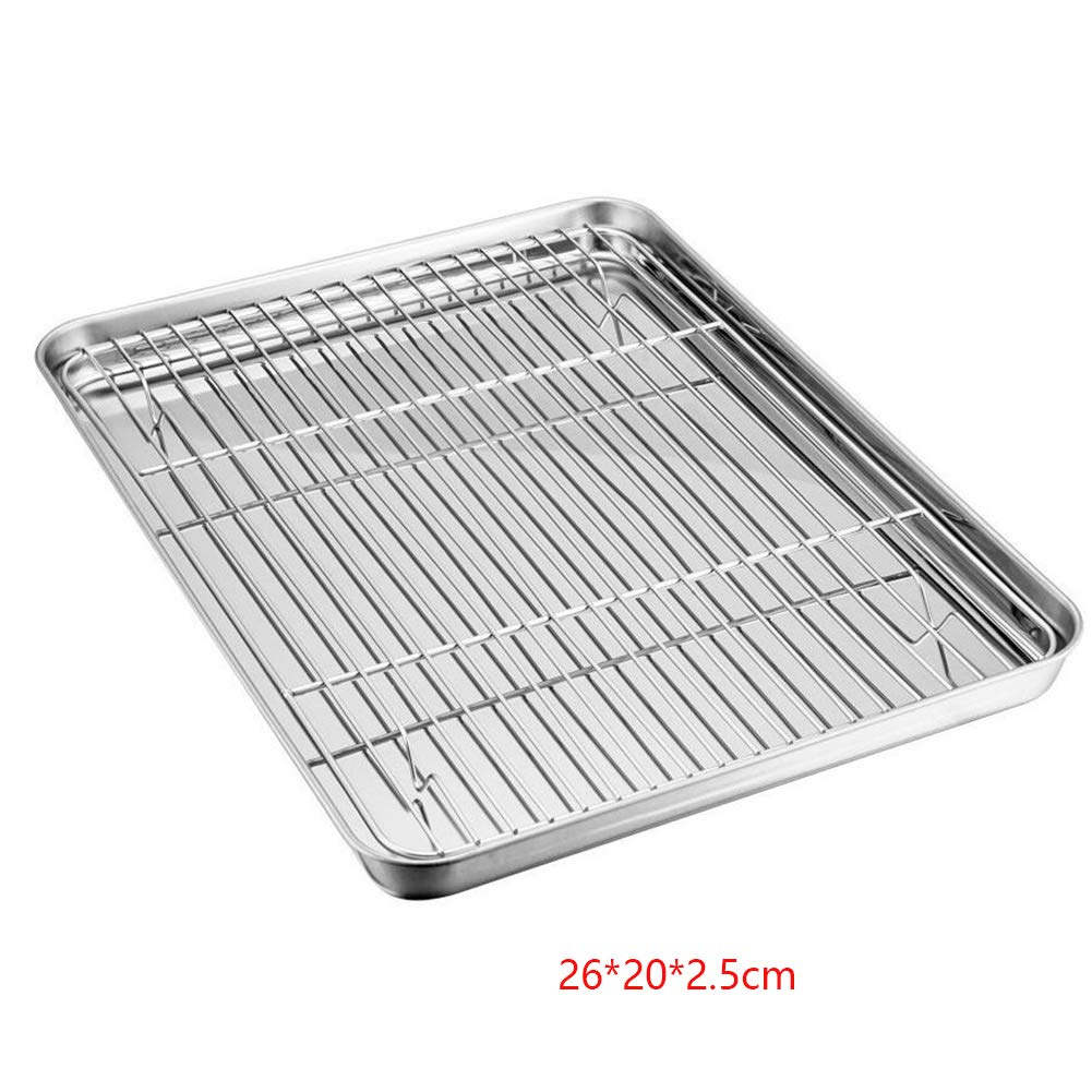 Mini Oven Tray with Rack Set, Stainless Steel Small Oil Drain Baking Tray Pan with Cooling Rack, Healthy & Non Toxic, Mirror Polish & Easy Clean -Dishwasher Safe (26202.5cm,Silver) yodaliy