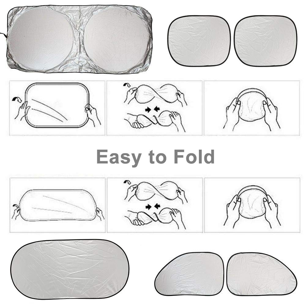 Universal Fit. Easy to Use Foldable Windshield Sunshades to Keep Your Vehicle Cool Car Windshield Sun Shade 6PCS//Set Sunshades with 12PCS Suction Cups