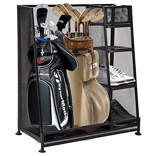 Tangkula Golf Organizer Durable Metal Storage Rack Golf Bag and Sports Equipment Organizer