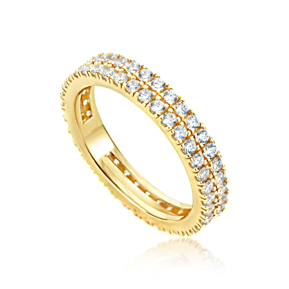 Double Accent Wedding Collection 14K Yellow Gold Plated Sterling Silver Round CZ High End 2 Row Stackable Eternity Ring (Size 5 to 9), 6 by Double Accent Wedding Collection