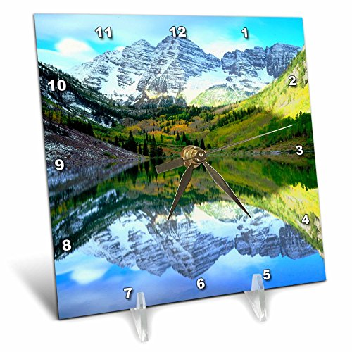 3dRose USA, Colorado. Rocky Mountains, Maroon Bells Reflect in Maroon Lake. - Desk Clock, 6 by 6-Inch (dc_207843_1)