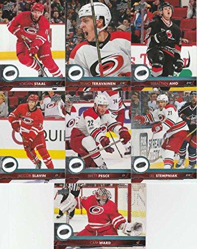 2017-18 Upper Deck Hockey Series 1 Carolina Hurricanes Team Set of 7 Cards: Brett Pesce(#32), Jaccob Slavin(#33), Jordan Staal(#34), Lee Stempniak(#35), Sebastian Aho(#36), Teuvo Teravainen(#37), Cam Ward(#38)