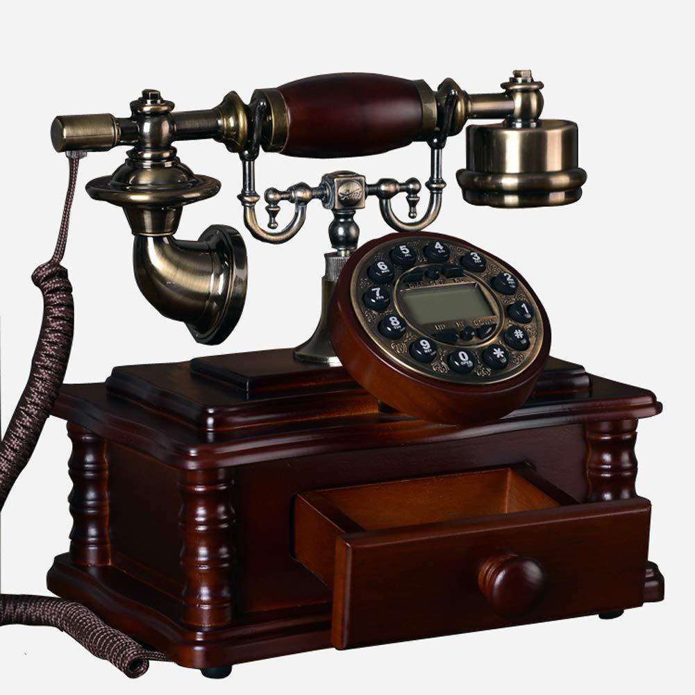 アンティーク電話アンティーク電話、固定電話固定電話発信者番号ワンクリックリプレイスクリーンバックライトクロスロープマイクライン、リビングルーム用(レッドウッド)   B07V1DSTT1