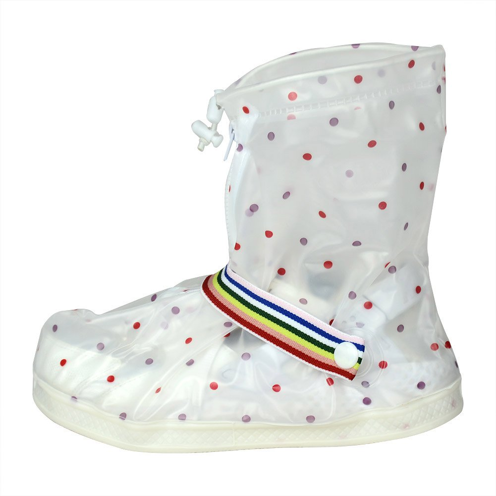 Polka Dot S Thicken Reusable Waterproof Women Girls Shoes Boots Cover