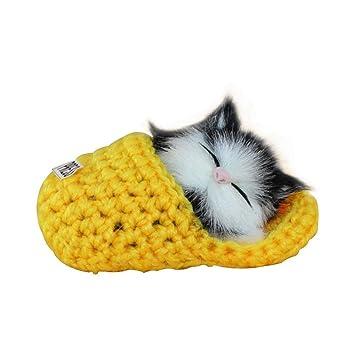 FOONEE Mini Kawaii Gato Sounders Juguete, Dormir Zapatillas Gatos Muñeca Mascotas Simulación Gato Gato Peluche para Decoración del Hogar Adornos Niños ...