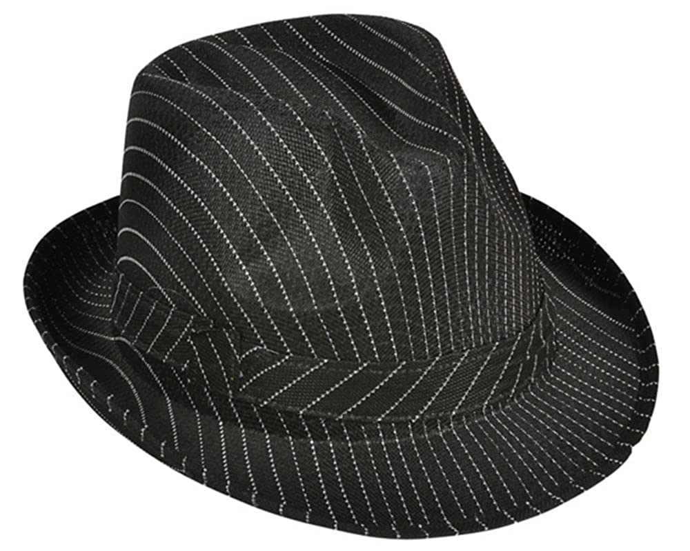 Amazon.com  Roaring 20s Gangster Costume Black Pin Stripe Fedora Hat   Clothing b6a58bea5c1