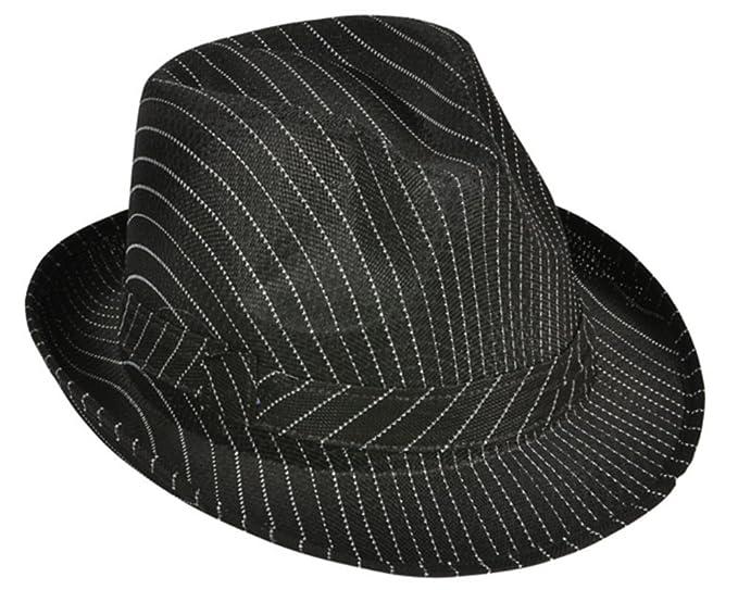 Amazon.com  Roaring 20s Gangster Costume Black Pin Stripe Fedora Hat   Clothing 9148bd02120