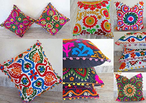 10 Piece Set 16 By 16 Mandala Style Otman Pouf Cushion Cover Hand Embroidered Suzani Pillow Vintage Cotton Cushion Cover Indian Handmade Round Pillow Case ()