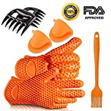 Fxexblin Silicone Barbecue Gloves, Pulled Pork Claws Set, Mini Oven Mitts ...
