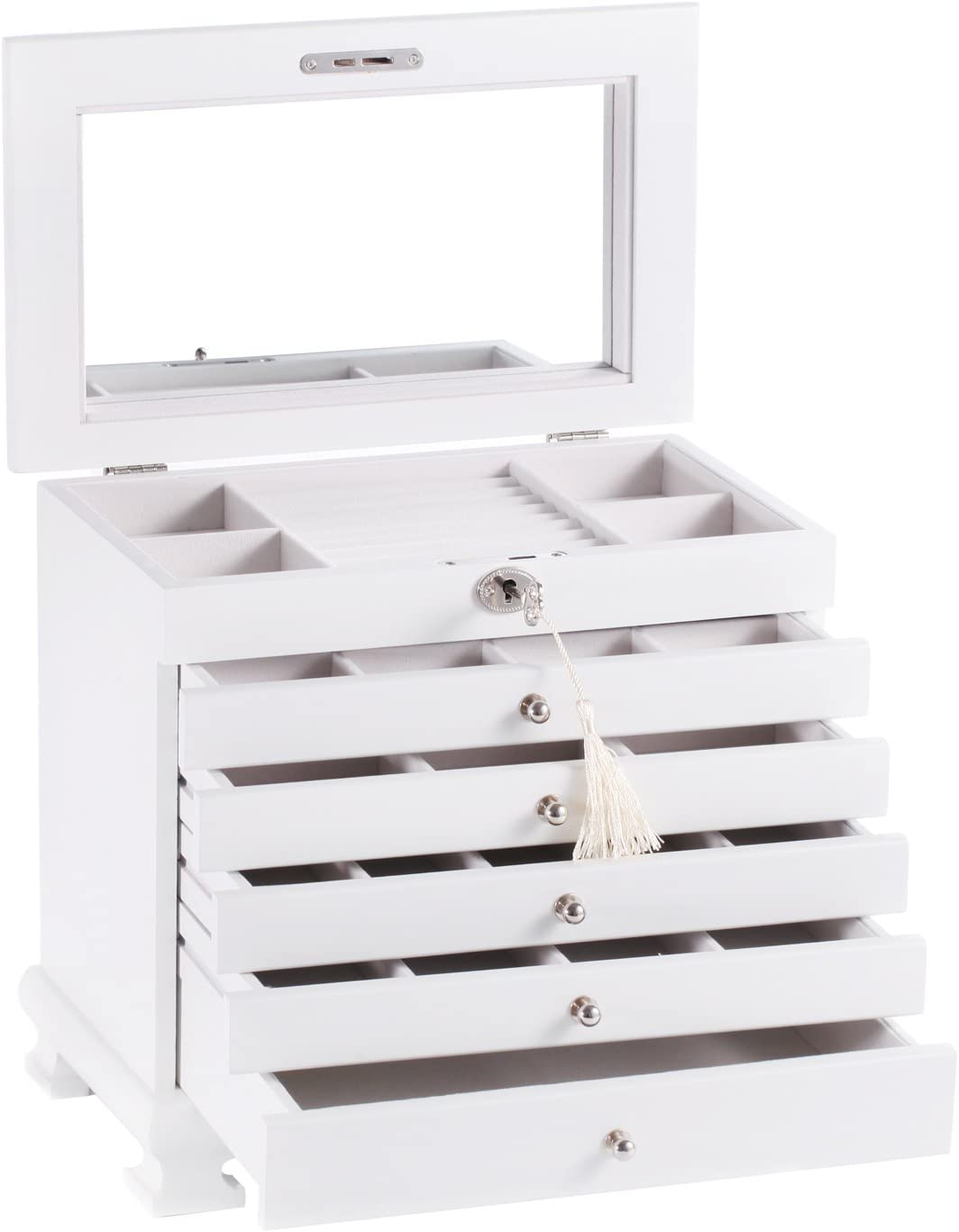 Large Wooden Jewellery Box Armoire Earrling Bracelet Organizer 6 Layers Mirror (WHITE)