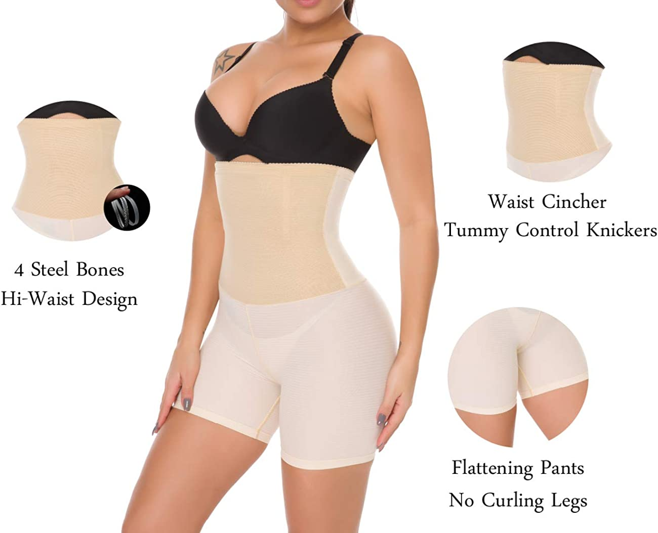 NINGMI Women High Waist Body Shaper Underwear Slimming Shapewear Tummy Control Knickers Panties