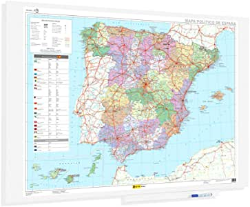 OFITURIA® Mapa de España Superficie Magnetica Sin Marco Medida 150x100cm: Amazon.es: Oficina y papelería