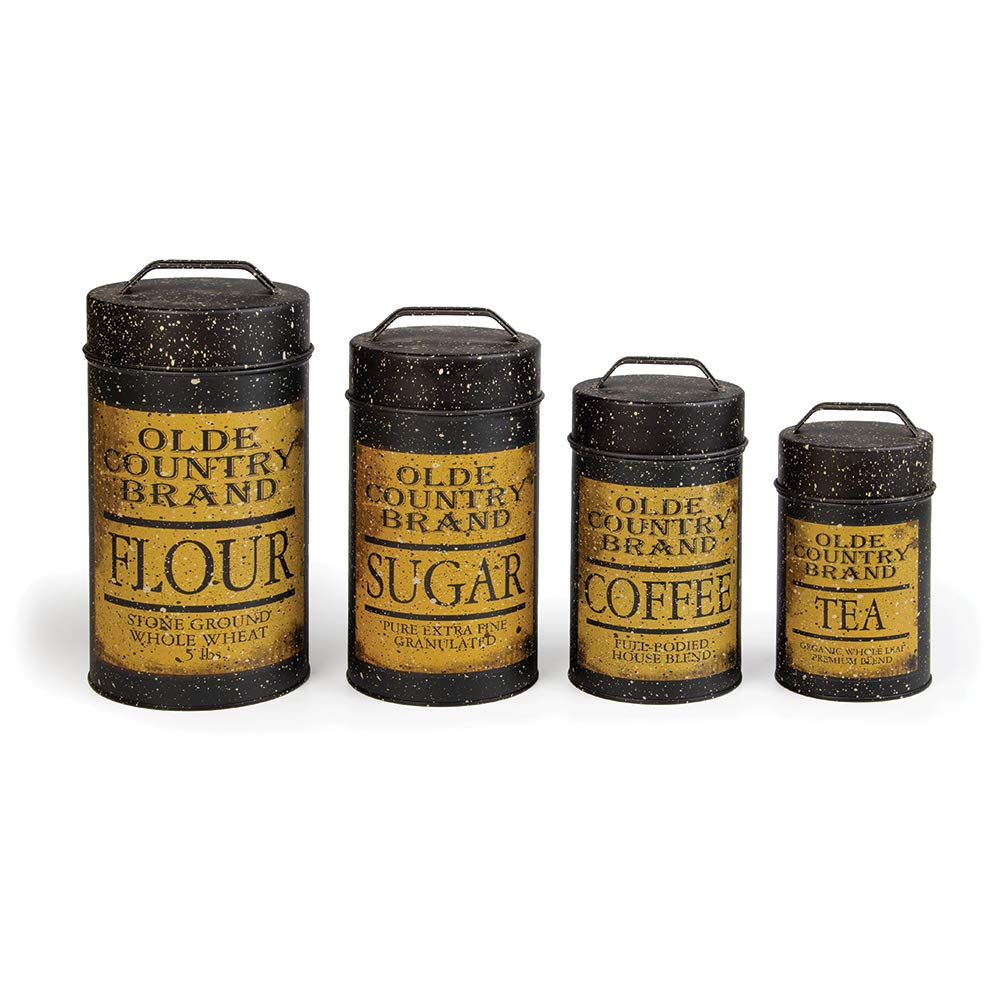 Olde Country Food Safe Tin Canisters | Kitchen Home Decor | Air Tight Storage | Set of 4 |