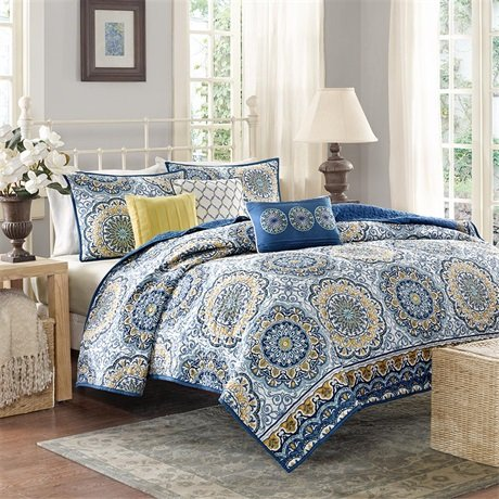 Madison Park Tangiers King/Cal King Size Quilt Bedding Set - Blue Yellow, Medallion – 6 Piece Bedding Quilt Coverlets – Ultra Soft Microfiber Bed Quilts Quilted Coverlet