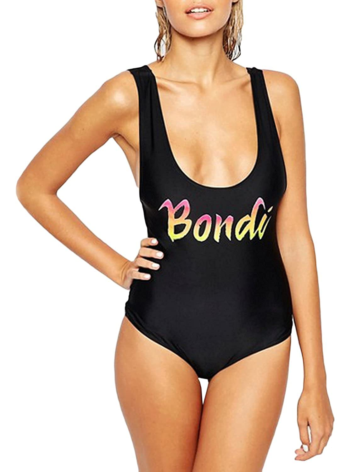 Women's Letters Print Athletic Sport Backless One-Piece Swimsuit Bathing Suit