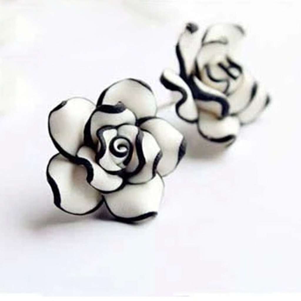 Amazon Women Ladies Graceful Ear Stud Black White Resin Rose