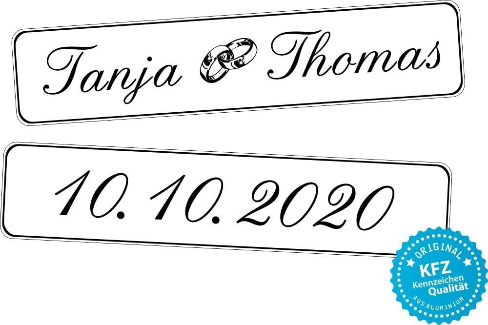 Liebesmasche Original Kfz Kennzeichen Hochzeit Autoschilder Hochzeitsschilder Namensschilder Mit Datum Namen Und Ringe 0192 0001 Auto