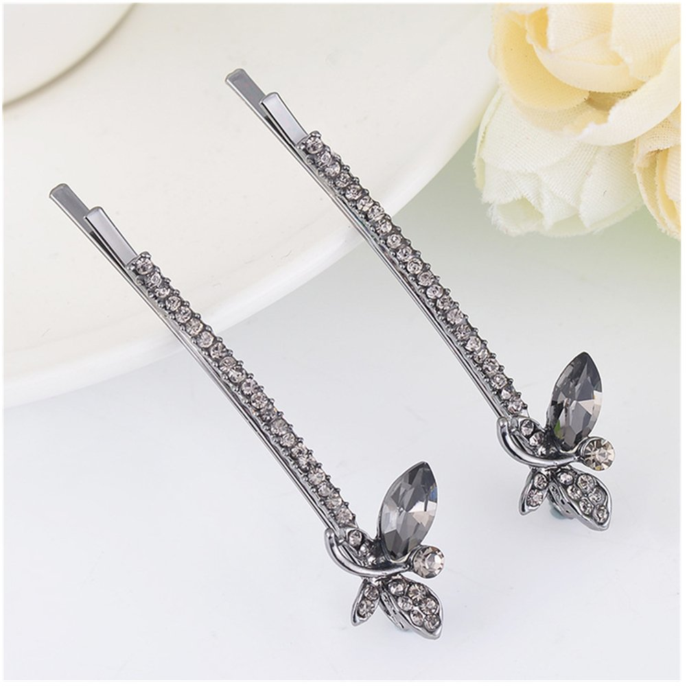 Casualfashion Chic Crystal Rhinestone Butterfly Bobby Pins Bow Hair Pins Clips Accessories for Women Girls 2.36inch Length (24#) free shipping