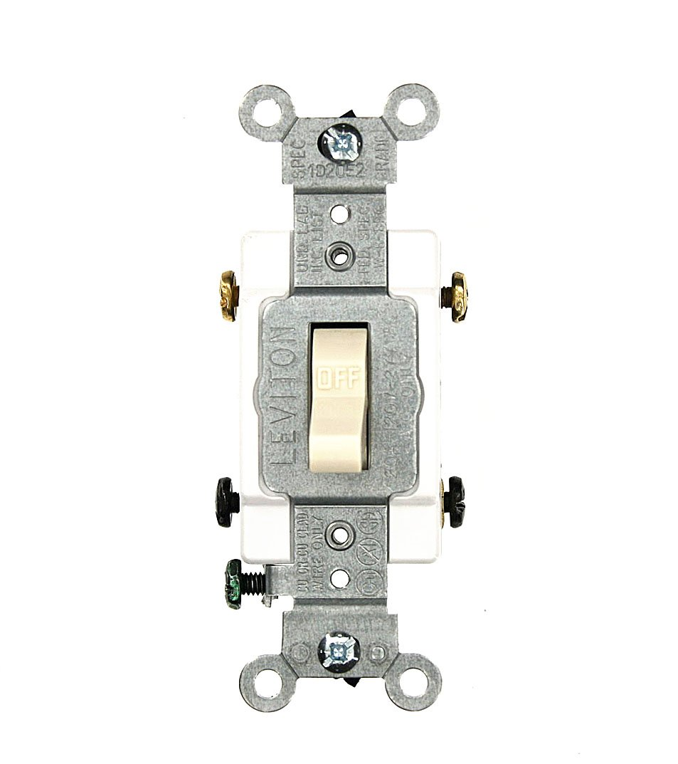 Leviton Csb2 20w 20 Amp 120 277 Volt Toggle Double Pole Ac Quiet Combination Two Switch Wiring Diagram Commercial Grade Grounding White Wall Light Switches