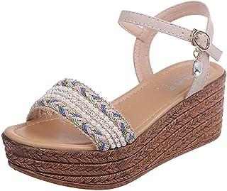 Sunnywill Sandales à la Mode féminine à Talons compensés à Talons compensés en Cristal compensé à Bout Ouvert et à Plateforme en Sandales à Talons Hauts Chaussures