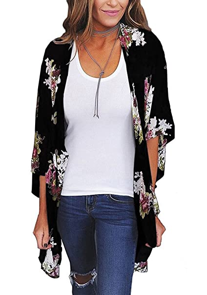 a7465df28c3e0c Women Fashion Summer Half Sleeve Tops Relaxed Flower Printed Casual Blouse  Kimono Cardigan Size S