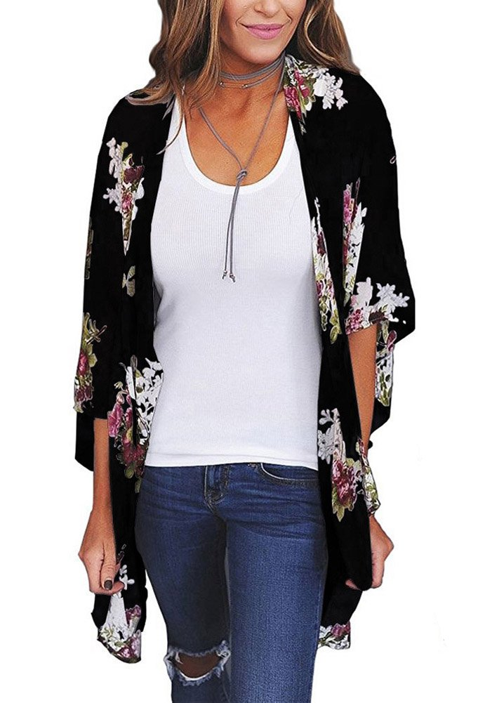Camisunny Summer Beach Cover Ups for Women Chiffon Floral Printed Short Sleeve Lightweight Black Size XL