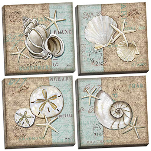 (Gango Home Decor Trendy Coastal Art Shells on Linen and Postcard Style-Background, Four 12 by 12-Inch Canvases; Ready to Hang! Teal/White/Brown)
