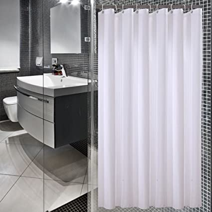Eforgift White Shower Curtain Liner Polyester Fabric Water Proof Single Narrow Size Mildew Resistant