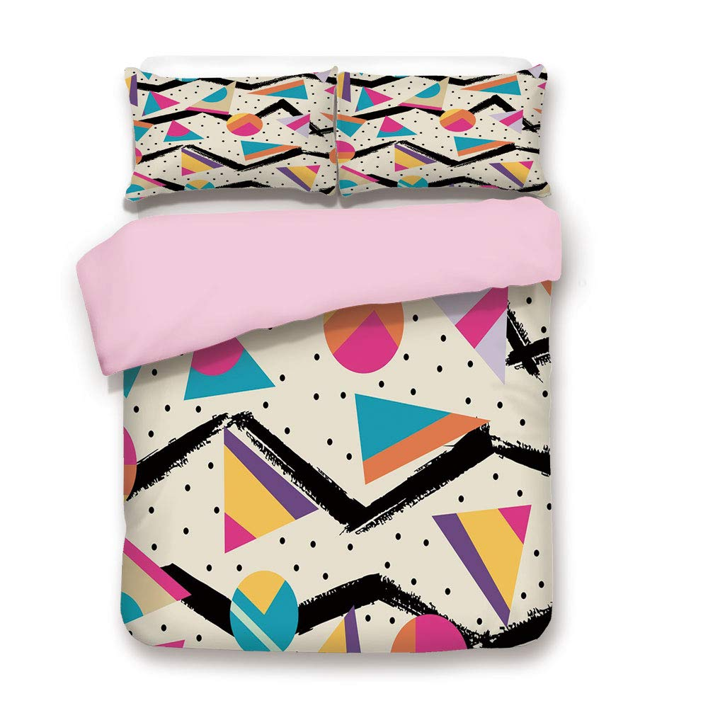 Pink Duvet Cover Set,FULL Size,Eighties Memphis Fashion Style Geometric Abstract Colorful Design with Dots Funky,Decorative 3 Piece Bedding Set with 2 Pillow Sham,Best Gift For Girls Women,Multicolor