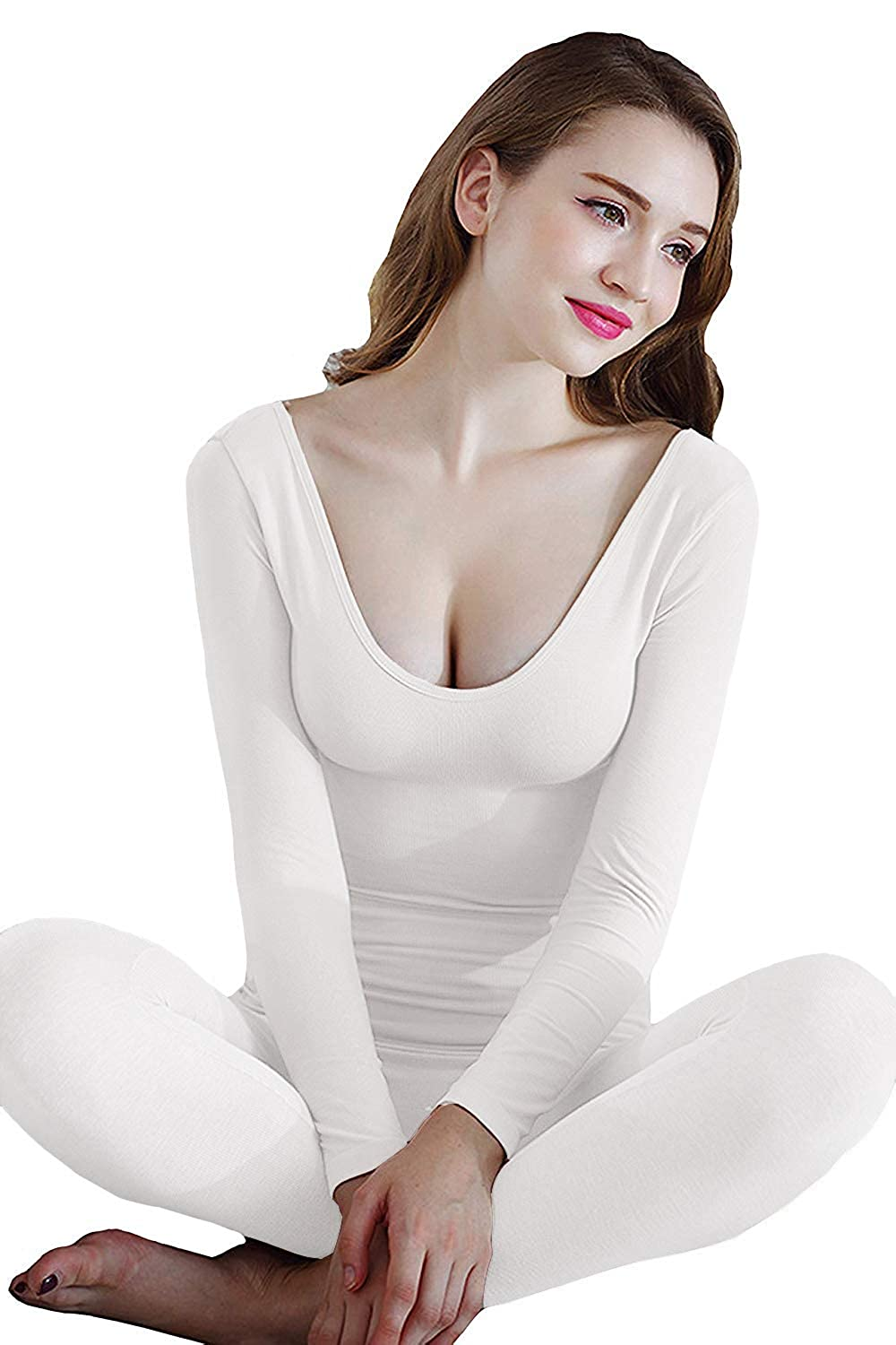 MMissy Womens Deep Neck Long Sleeves Thermal Underwear Soft Long John Winter Base Layer Fitted Waist Slimming Sleepwear