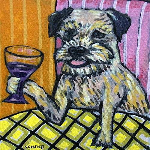Border Terrier at the Wine Bar decor Dog art tile coaster gift