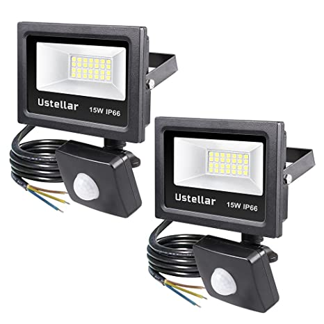 Ustellar 2*15W 1200LM Foco LED con Sensor Movimiento, Proyector LED Exterior Impermeable IP66