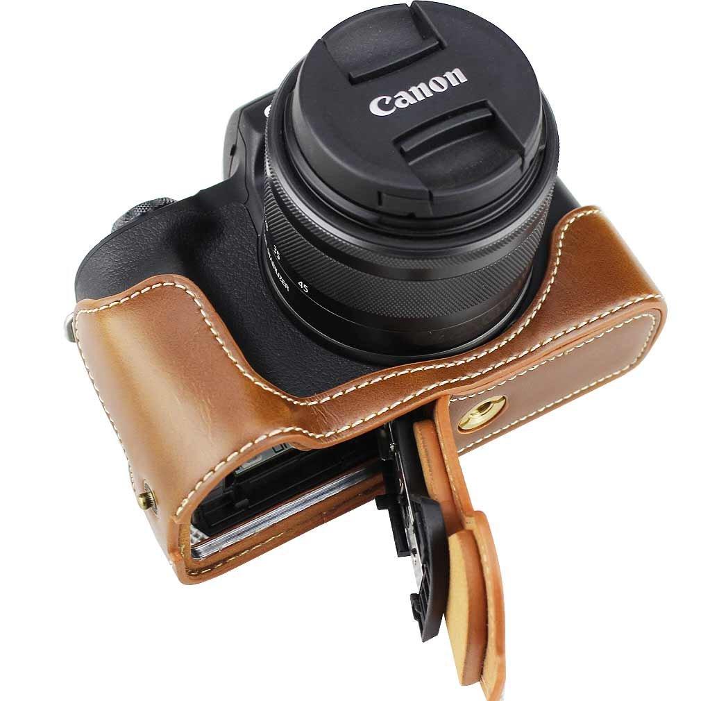First2savvv Negro Funda C/ámara Cuero de la PU c/ámara Digital Bolsa Caso Cubierta con Correa para Canon EOS M50 con EF-M 15-45mm Lens XJD-EOS M50-HH01G11