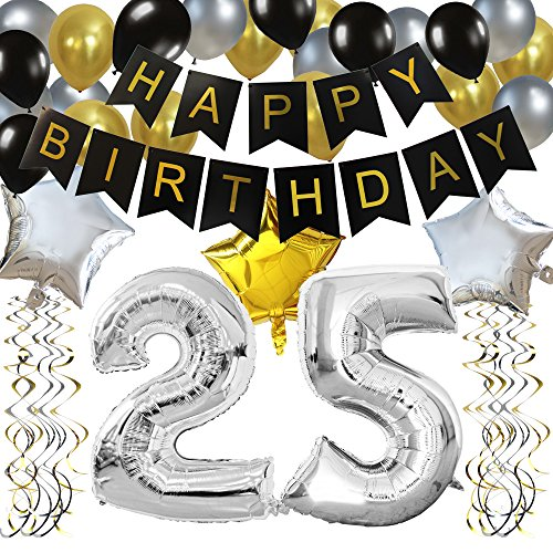 KUNGYO Classy 25TH Birthday Party Decorations Kit-Black Happy Brithday Banner,Silver 25 Mylar Foil Balloon, Star, Latex Balloon,Hanging Swirls, Perfect 25 Years Old Party Supplies ()