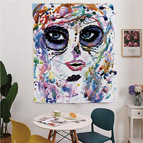 Sugar Skull Decor Blackout Window curtain,Free Punching Magic Stickers Curtain,Halloween Girl with Sugar Skull Makeup Watercolor Painting Style Creepy Decorative,for Living Room,study, kitchen, -
