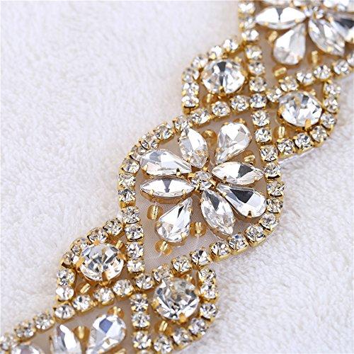 (2 piezas) Rhinestone Applique con Cristales y Perlas para el Vestido Headpieces Bolsas Cinturon para Vestido Novia, Cinturones Boda Oro-015