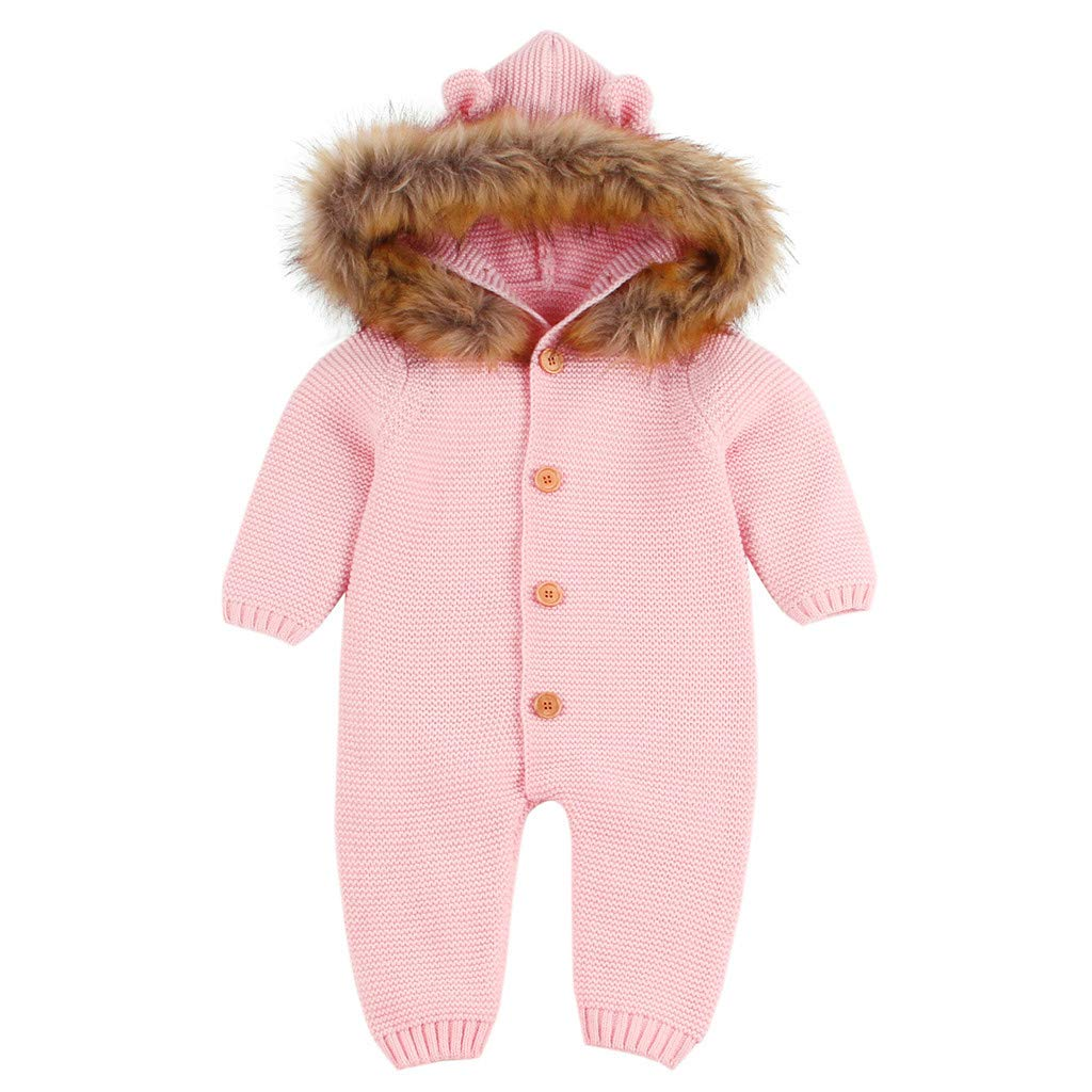 BFYOU Newborn Infant Baby Boy Girl Knitted Winter Romper Jumpsuit Outfits Clothes Pink by BFYOU_ Girl Clothing