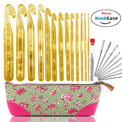 13pcs Huge Crochet Hooks Set Needles with 9pcs Large-eye Blunt Yarn Needles Larger Crochet Hook Kit in Case by WooCrafts