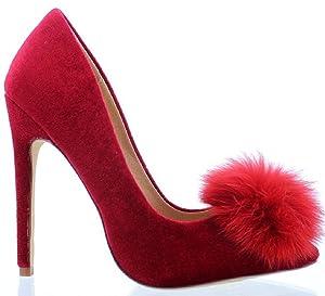 Liliana Affair Velvet Pointy Toe Stiletto High Heel Fur Pom Slip On Pump Slide Shoe Red 7.5