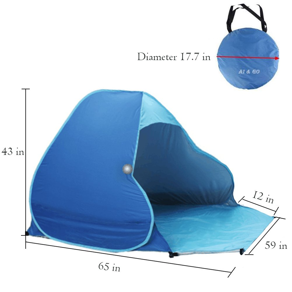 Summer Beach Tent Portable Beach Tent Outdoor Shade Tent for Garden Fishing Hiking Picnic Protective Anti UV Camping Tent Quick Easy Set up with Carry Bag /… Sun Shelter Pop up Tent 2-3 Persons