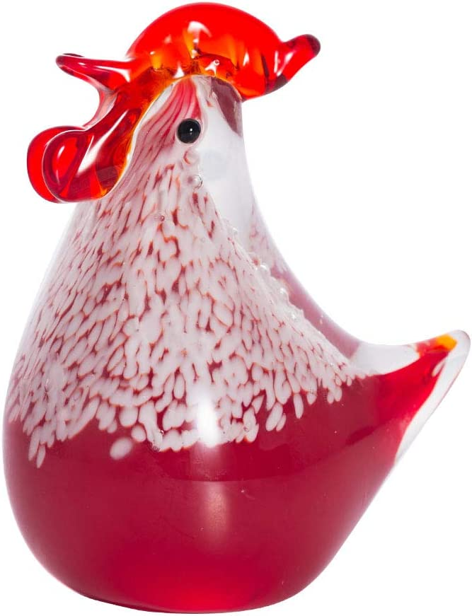 LONGWIN Hand Blown Glass Chicken Sculpture Handmade Art Glass Rooster Animal Figurine Home Decoration Ornament