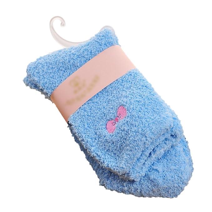 MIOIM Bebé Niños Niñas calcetines térmicos calientes suaves calcetines de dormir de invierno con Nudo de