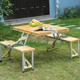 Fold Up Wooden Table and Chairs Wooden Picnic Table Bench Seat Outdoor Portable Folding Camping Aluminum w/ Case