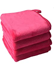 Sinland Microfiber Makeup Remover Cloth Clean Towel-Chemical Free, Fast Drying and Safe Facial Cleaning Towels 4 Pack Dark Pink