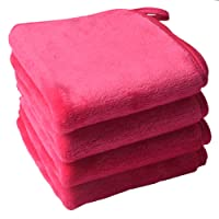 Sinland Microfiber Makeup Remover Cloth Clean Towel-Chemical Free, Fast Drying and Safe Facial Cleaning Towels 3 Pack Dark Pink