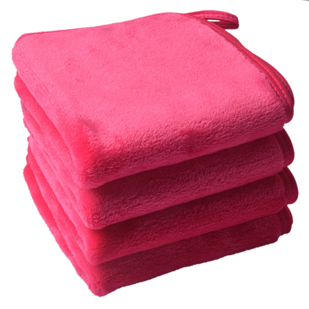 Sinland Microfiber Makeup Remover Cloth Face Cloths Facial Cleaning Towels Fast Drying Washcloth 400 gsm 9.8Inchx9.8Inch 4 Pack Dark Pink