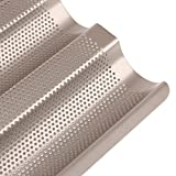 French Loaf Mold Cooling Rack Baguette Pan Non-Stick Perforated Wave Baking Toast Cake Cooking 3 Gutters