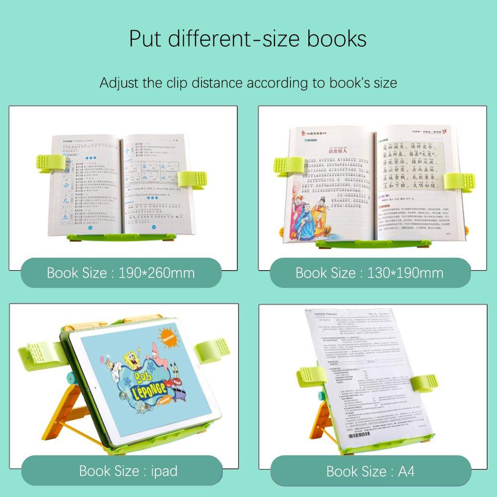 Atril de lectura Toocoo Atril para Libros - Bookrest - Libros Soporte para Libros Portátil Lectura Soporte de Lectura de Niños, Soportes para Libros de Cocina (Verde) 76e750