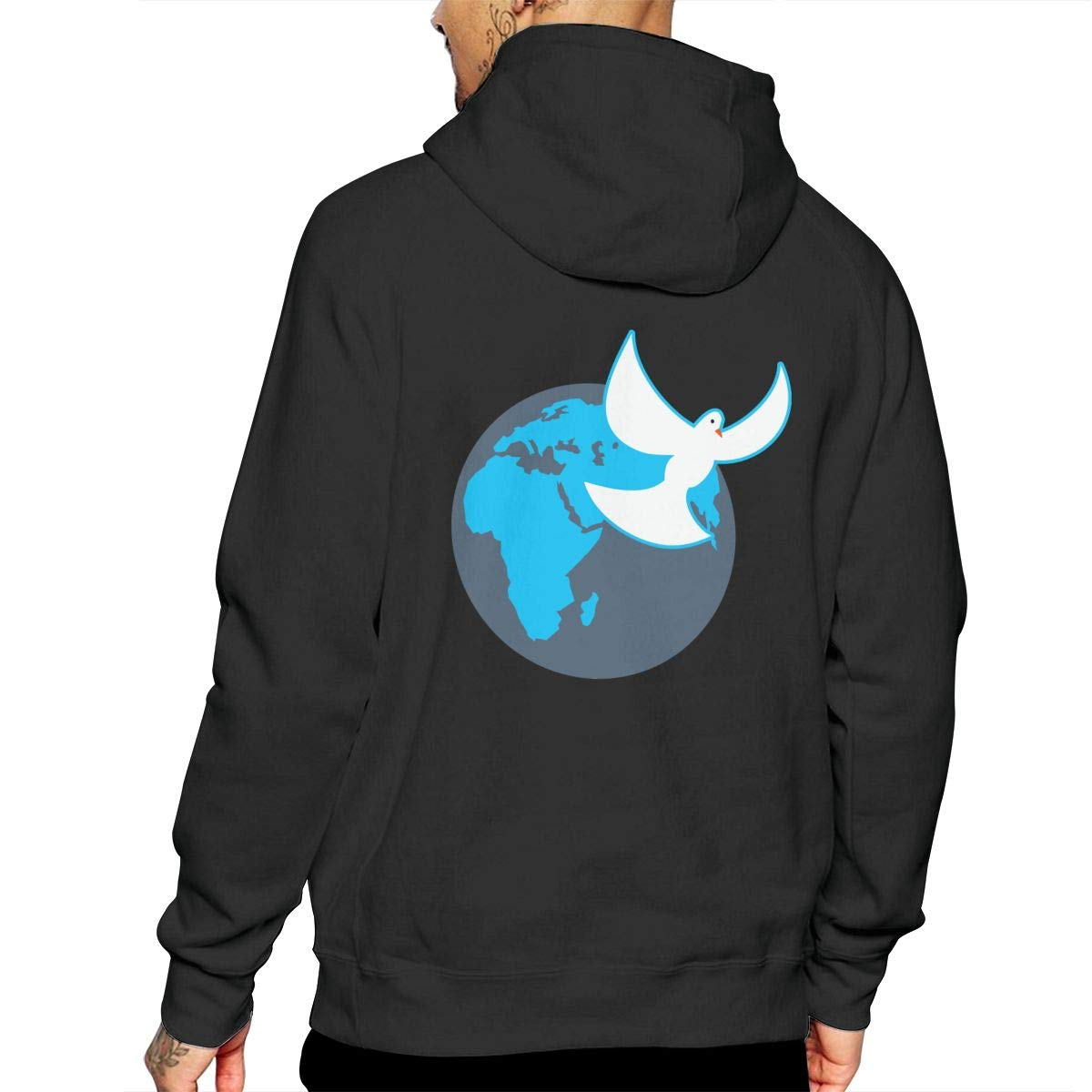 Men World Globe /& Dove Hooded Fleece Casual 100/% Cotton Sports Pullover with Pocket for Men